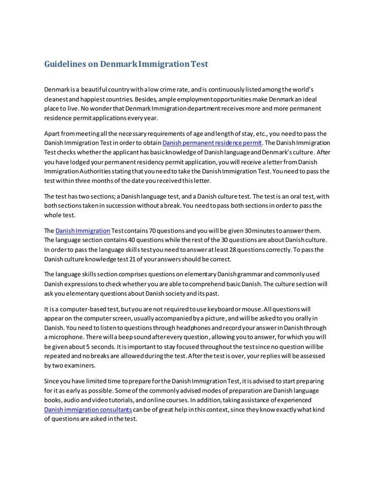Guidelines on denmark immigration test | http://www.goforvisa.com/ by Goforvisa | Immigration & Visa Consultants via slideshare