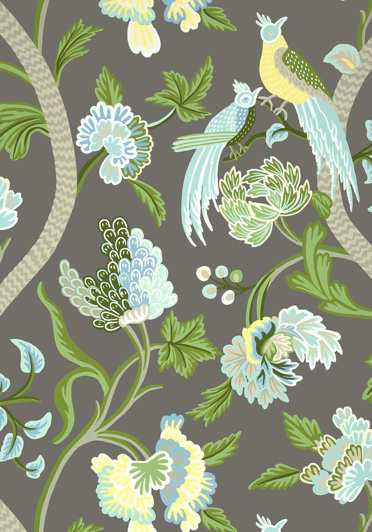 Janta Bazaar Wallpaper And Fabric In Charcoal From The