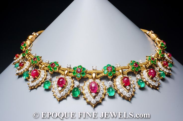 Van Cleef & Arpels, A magnificent ruby, emerald and diamond necklace of oriental inspiration,