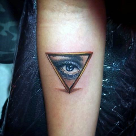 Spectacular Triangle Eye Tattoo For Men