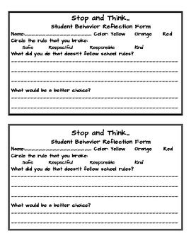 Behavior reflection sheet- I'll think I'll modify this to include my class rules and put it at my resource area with a timer; student comes back when done...