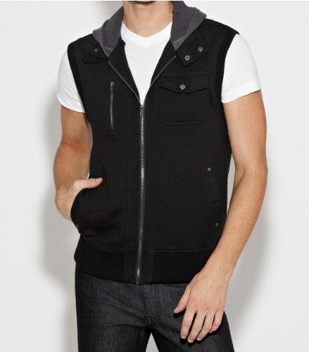 Mens black sleeveless hoodie