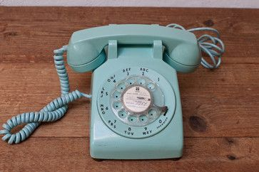 Mint Green 1960s Rotary Telephone Phone by Whisky Ginger - contemporary - home electronics - Etsy