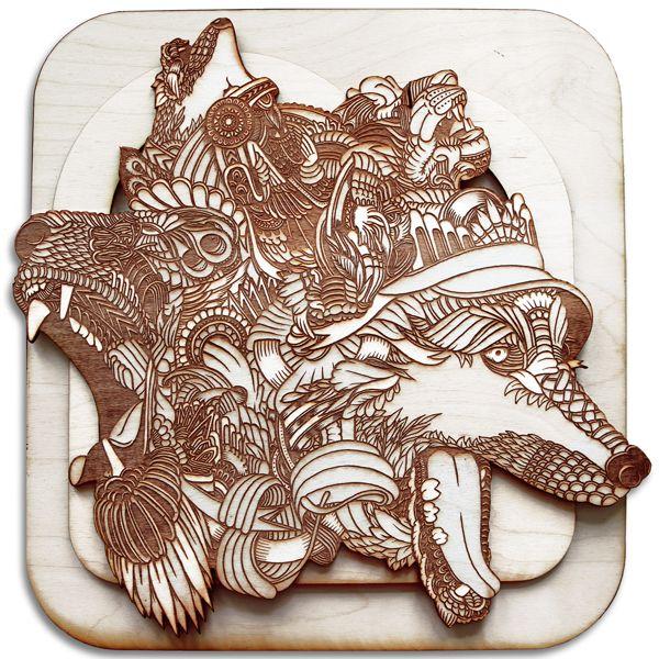 """The Art of Wood by Lucky """"Dubz"""" Trifonas, via Behance"""