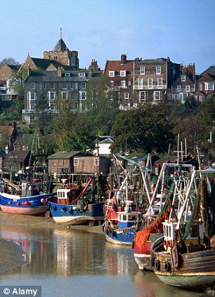 Fishing boats on River Rother in Rye, Sussex, England