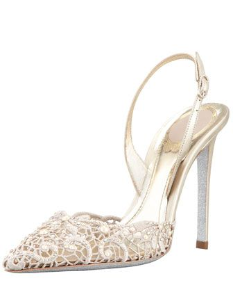Rene Caovilla Embroidered Lace Point-Toe Halter Pump - Bergdorf Goodman