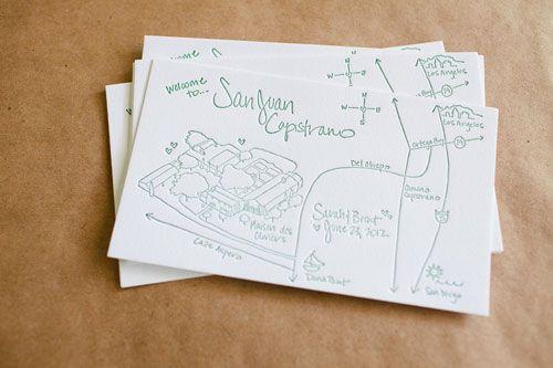 Hand Drawn Wedding Directions Map