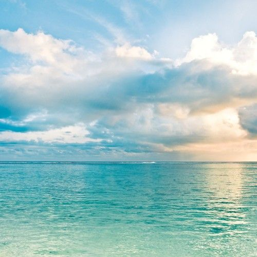 Sunset and blue water as clear as glass. This must be the perfect beach in my dream world! #indigo #perfectsummer: Beaches, Cooking Islands, Color, Blue, The Ocean, Cloud, Places, Photo, The Sea