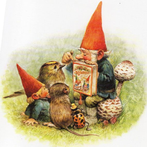 Vintage Art Print by Rien Poortvliet Gnome elf David 80s