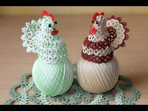 Плетем курицу. Фриволите - YouTube - Polish video