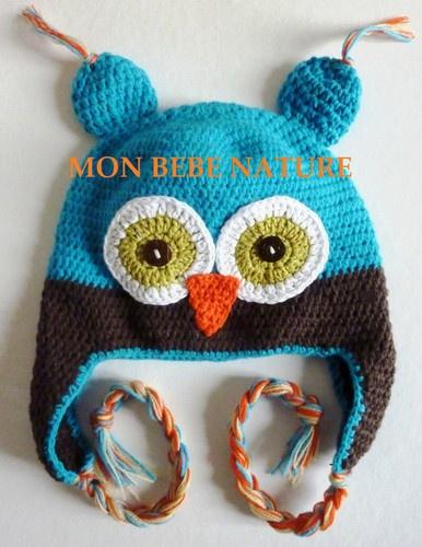 eBay   Bonnet Chouette Hibou, Bebe / Enfant, Crochet 100% Coton * De 0 à 3 Ans *