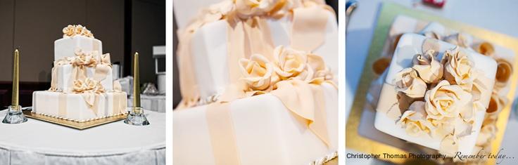 Brisbane Wedding Photography - gold wedding cake, Christopher Thomas Photography