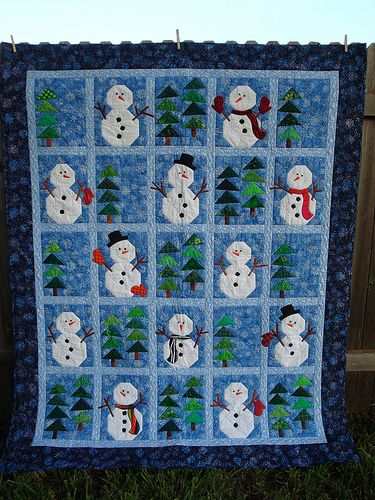 Snowmen in the Woods is a Quiltmaker pattern, available at quiltandsewshop.com.