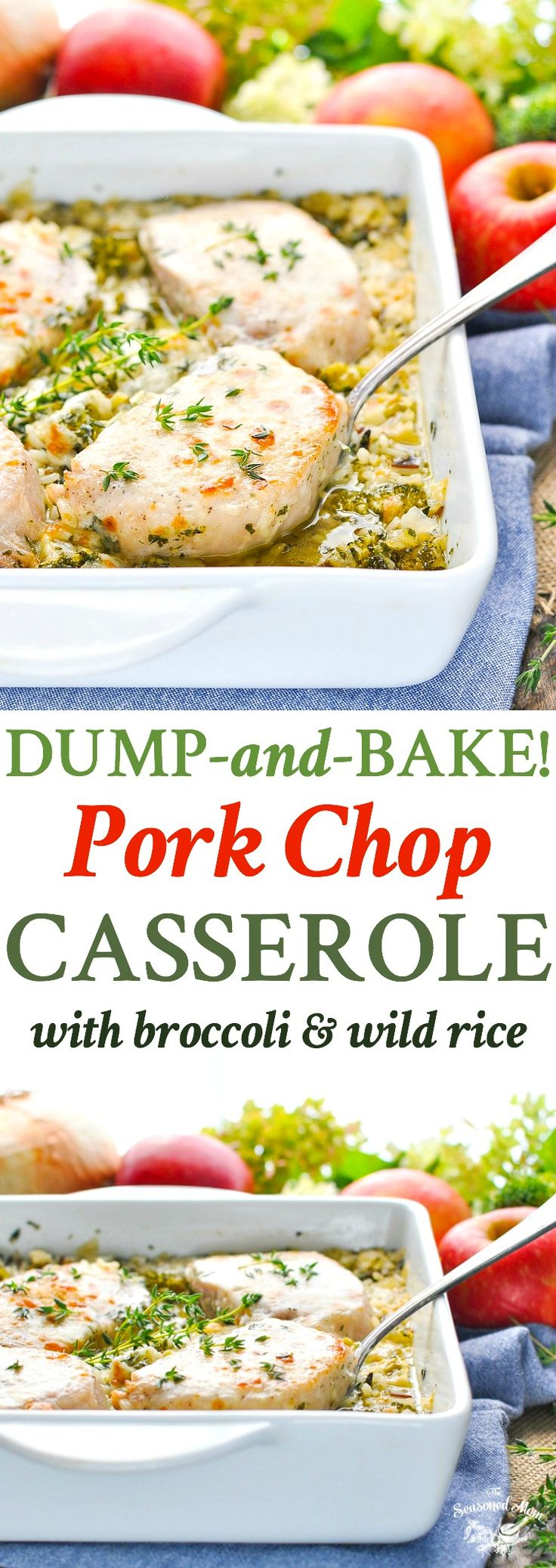 For an easy dinner recipe that cooks entirely in one dish, try this Dump-and-Bake Pork Chop Casserole with Broccoli and Wild Rice! Pork Chop Recipes | Pork Chops | One Pot Meals