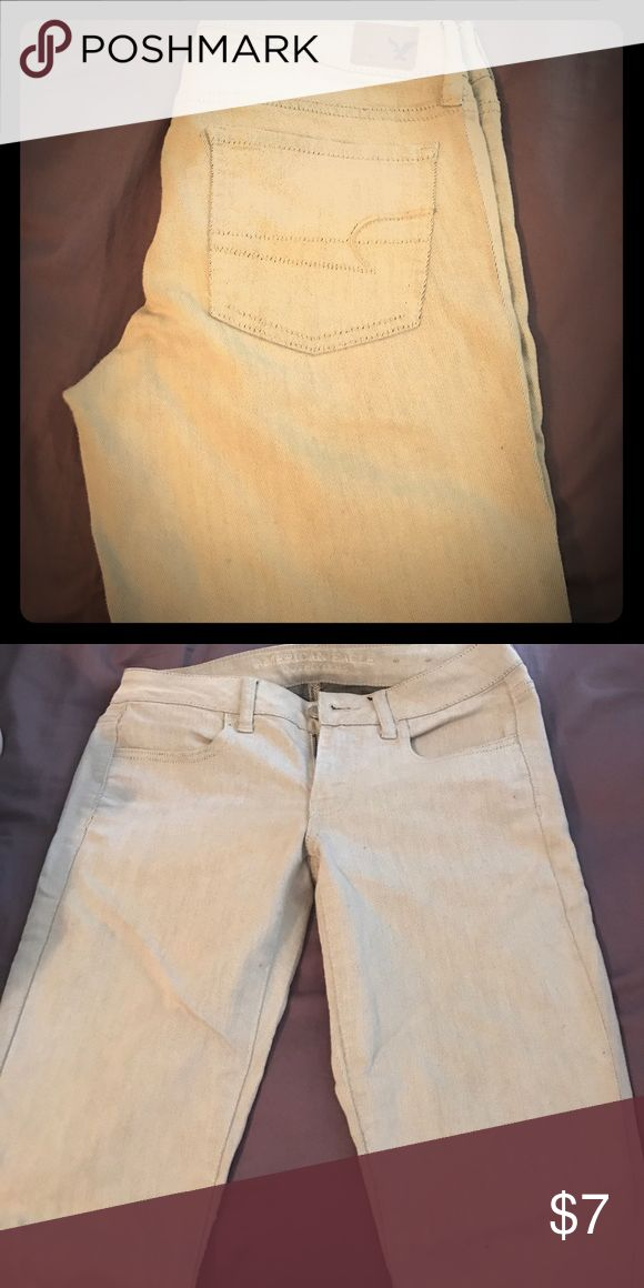 Tan skinny jeans-perfect for work! These are skinny jeans from American eagle. They are a size 6 regular American Eagle Outfitters Jeans Skinny