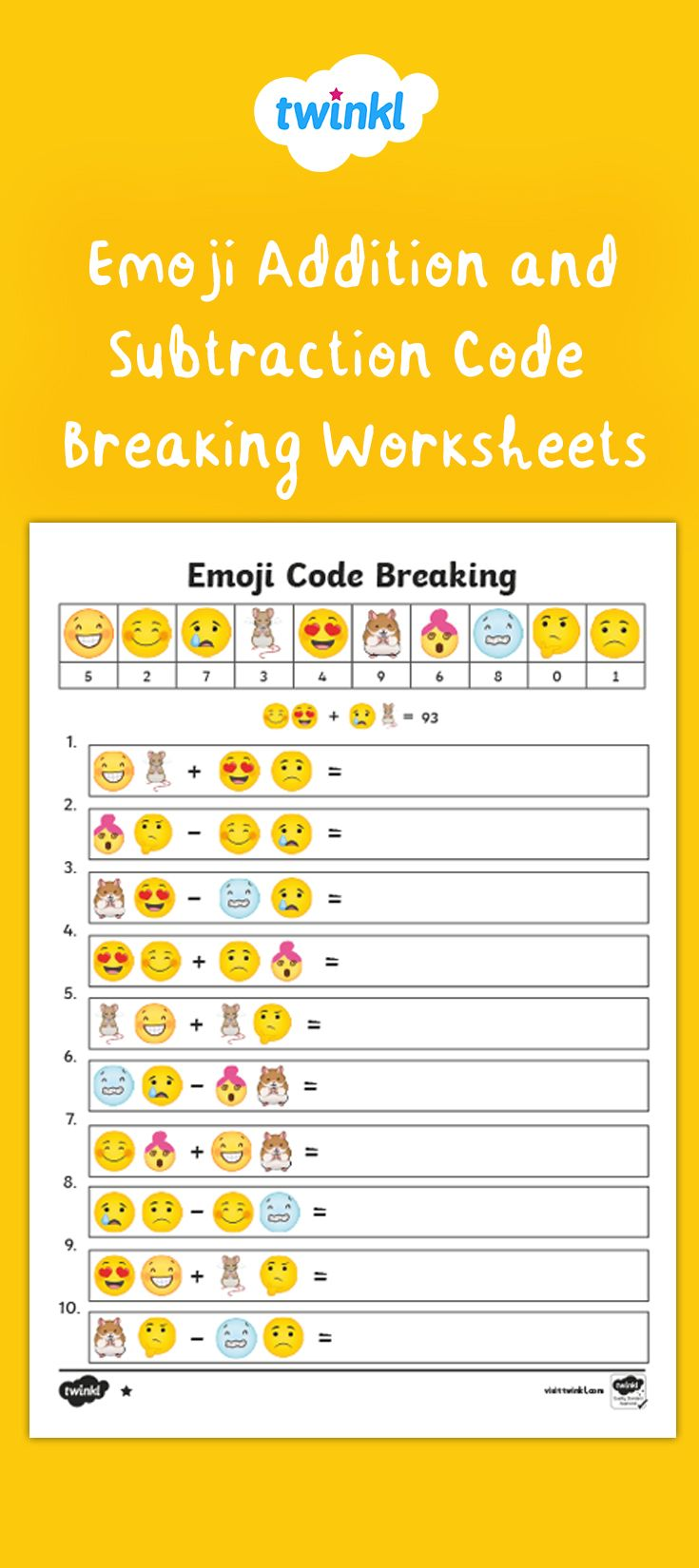 Emoji Maths Code Breaking Worksheets Ks2 Emoji Math Emoji Codes Addition And Subtraction Year addition worksheets twinkl