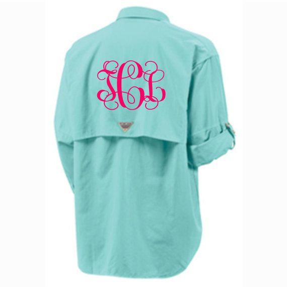 Monogrammed Columbia Fishing Shirt PFG Columbia Short Sleeve Fishing Shirt Bathing Suit Swim Suit Cover Up Large Monogram on Etsy, $52.00