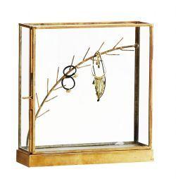 Madam Stoltz / Stojánek na šperky Glass box brass