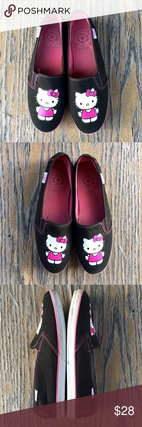Hello kitty vans slip on shoes Hello kitty vans slip on shoes. All flaws are in pics. Backing is bent out of shape. Overall in good shape. See pics for all details. Ask questions pls. Offers? Vans Shoes