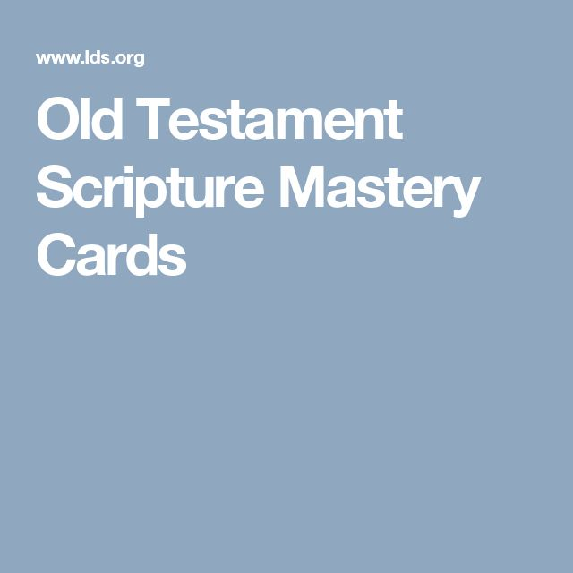 Old Testament Scripture Mastery Cards