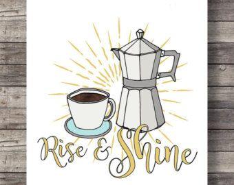 Stijgen en glans | Koffie keuken art print | Keuken inrichting afdrukken | Stovetop Espresso koffie afdrukbare keuken kunst aan de muur - 16 x 20 digitale print