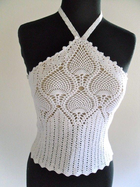 Krissy Crochet Halter Top White
