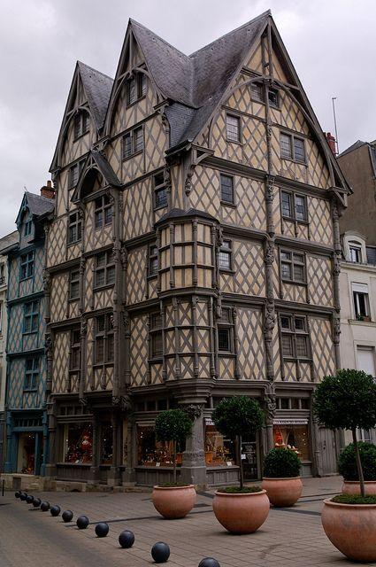 Maison d'Adam, a medieval (circa 1500) half-timbered house in Angers, Maine-et-Loire, Pays de la Loire I France