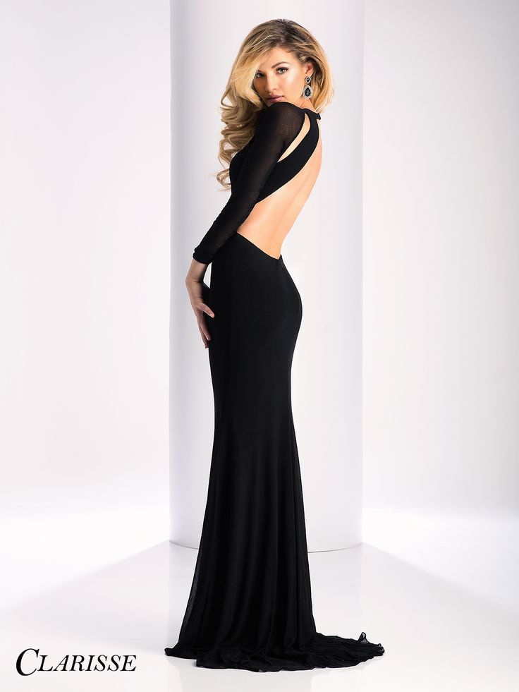 Clarisse Prom Dress 3107.  Long sleeve simple dress with cutouts, an open back and detachable belt. COLOR: Black SIZE: 00-16 Find this sleek and sexy dress by searching for your Clarisse retailer at the link below! http://clarisse.com/locator/index.php