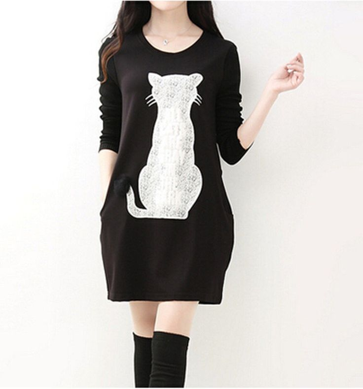 Korean Girls Tops Long Sleeve Round Neck Slim Cat Pattern Shirt Dress