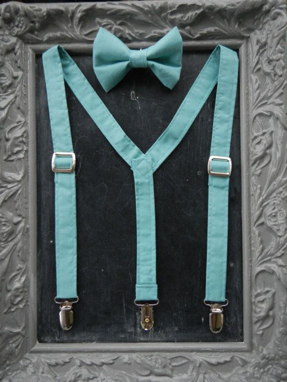 Boys Suspenders Bow Tie set Tiffany Blue by bearandfoxdesigns, $25.00