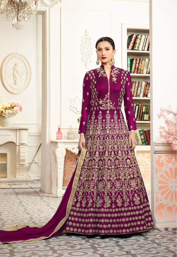 Gauhar Khan Purple Taffeta Silk Long Anarkali Salwar Suit After placed order you should submit Measurement Here