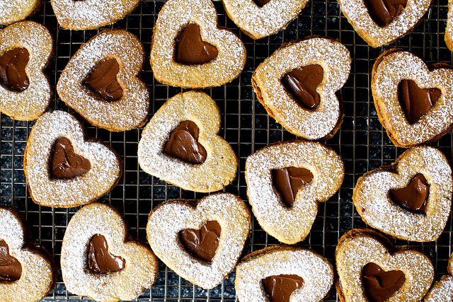 chocolate hazelnut linzer hearts by smitten, via Flickr