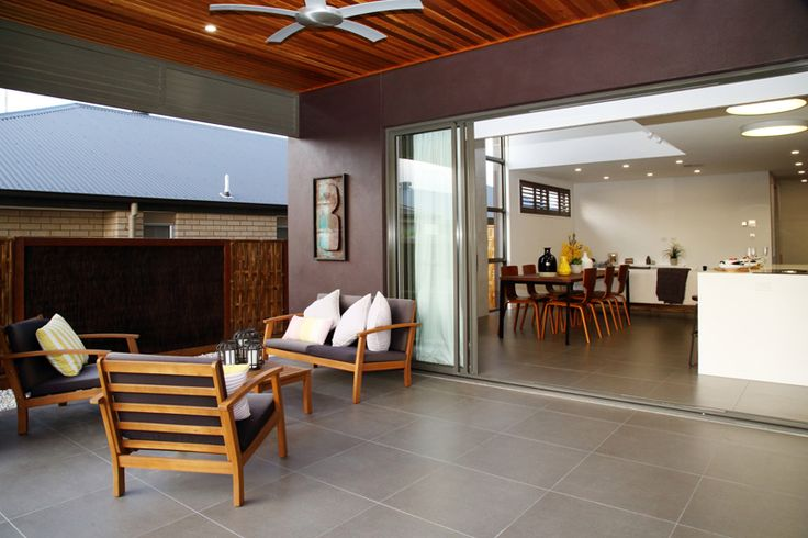 Continuation of tiles indoor outdoor living