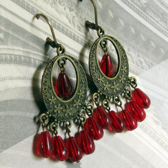 Chandelier Earrings Red Chandelier Earrings by TheBrassHussy