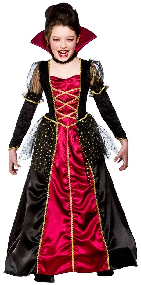 Vampiress Girls Halloween Fancy Dress Vampire Kids Childrens Childs Costume New | eBay
