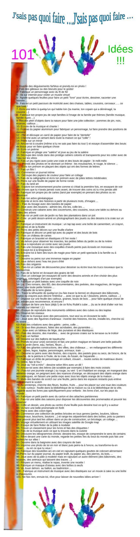 j'sais pas quoi faire ! Une super liste de 101 idées pour votre enfant !