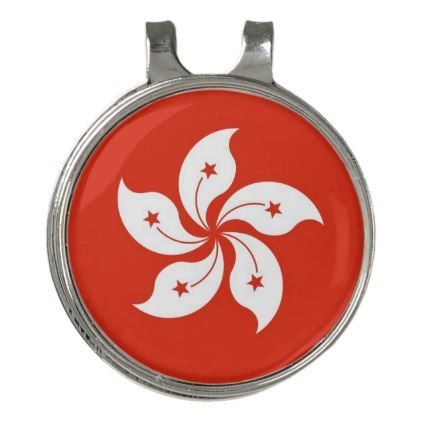 Golf Hat clip and Ball Marker Hong Kong Flag - flowers floral flower design unique style