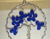 Swarovski Crystal Tree of Life Wire Wrap Necklace Handmade Silver Plate Copper Black Wire