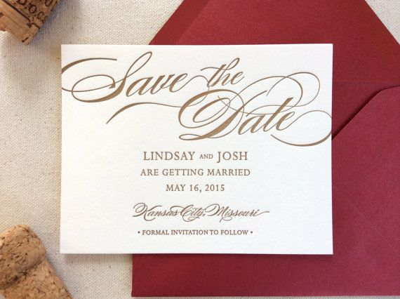 The Begonia Suite - Letterpress Save the Date Wedding Announcement, Gold and Marsala, Red, Script, Traditional, Formal, Timeless, Simple