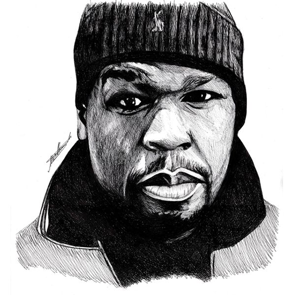 50 Cent Portrait Drawing by Musa Drammeh, via Behance