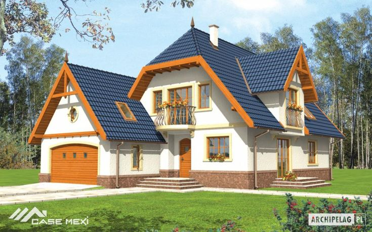 The one #storey #house with functional attic, without basement, with built in 2 cars garage, intended for 3-4-person family. Clear division into daily zone on the ground floor and night on the first floor. On the ground floor designed big living room connected with kitchen, study, bathroom with shower and utility part. From the living room is entrance to the roofed terrace. On the attic are 3 bedrooms and bathroom.