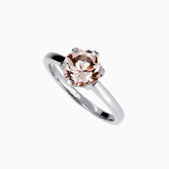 Signature Crown ring with Morganite in Platinum
