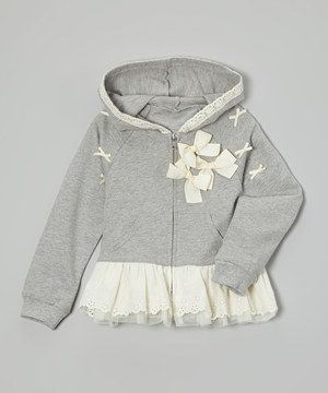Look what I found on #zulily! Gray Bow Skirted Hoodie - Infant, Toddler & Girls by Just Fab Girls #zulilyfinds