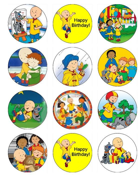 CAILLOU Edible Image Cupcake Toppers  Birthday by ABCedibleprints, $5.99