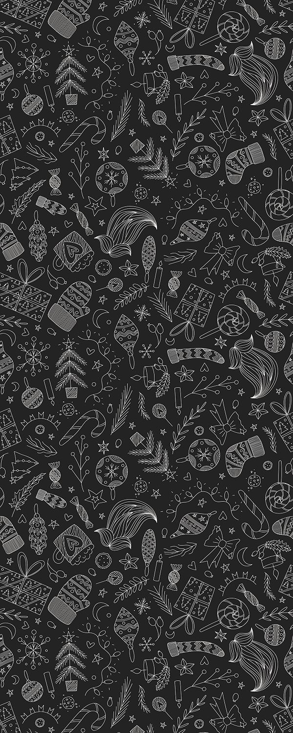 Black Christmas Doodle Pattern Wallpaper Iphone Christmas Phone Wallpaper Patterns Dark Christmas