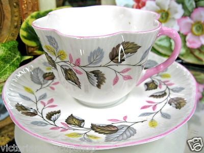 Shelley Teacup Unique Leafy Dainty Tea Cup and Saucer Pink Trims | eBay