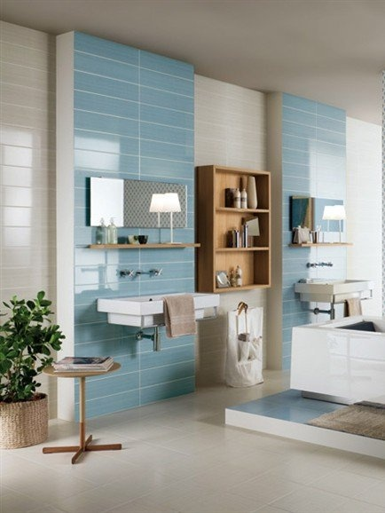 White-paste wall tiles TOP COLOR by CERAMICA SANT'AGOSTINO #bathroom #lightblue #colour