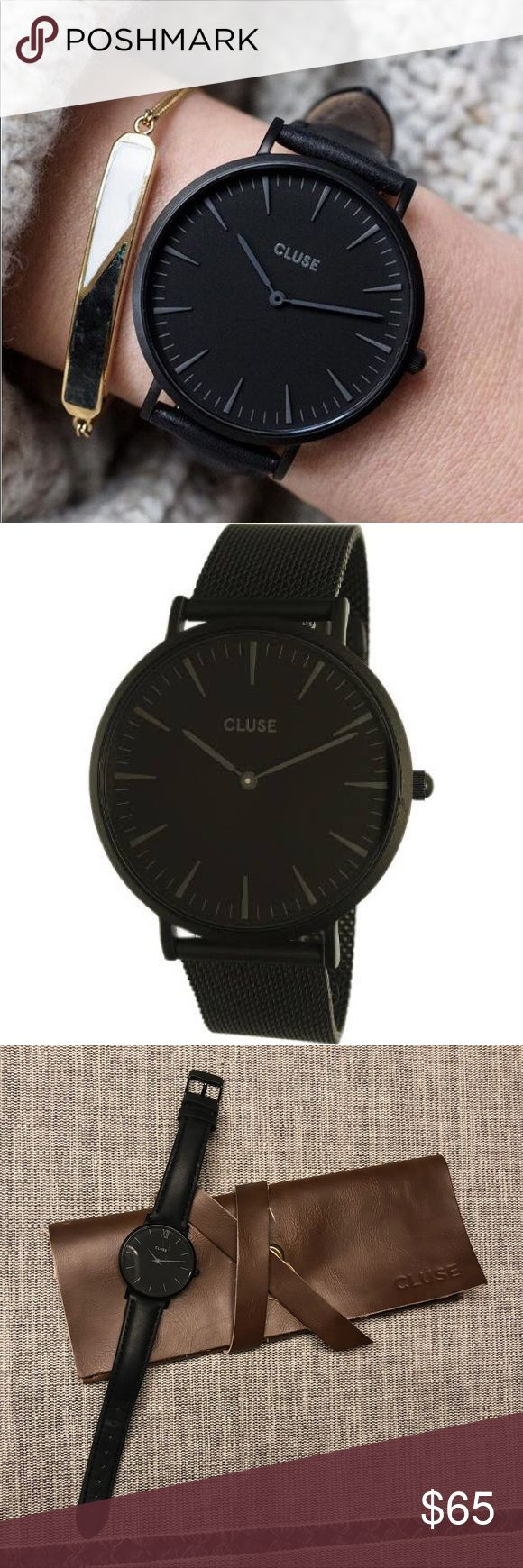 Cluse Minuit Full Black Watch Beautiful minimalist Swedish watch, lovingly used! Few hairline scratches on the face, as pictured, only visible in bright light. The straps are removable and can be interchanged with any other Cluse straps. Comes in original leatherette pouch. 16mm strap width. Case diameter 33mm. Cluse Accessories Watches