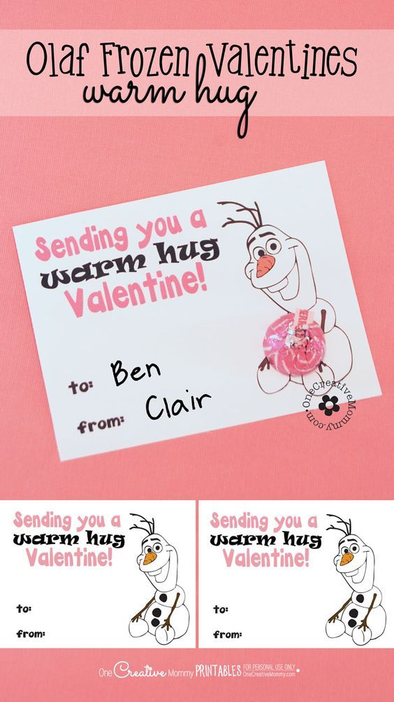 """Disney's Frozen """"Warm Hugs"""" Olaf Valentines {Free Printable from OneCreativeMommy.com}  Just print, cut, and add a hug! Easy Valentine Idea"""