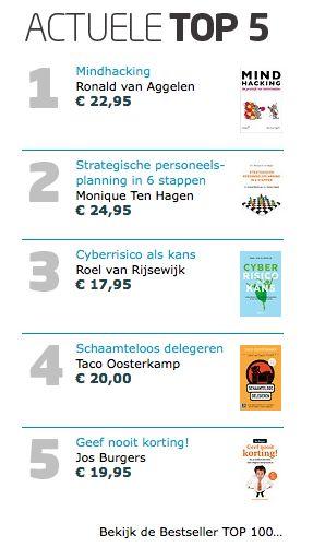 Heerlijke zaterdag met deze actuele TOP 5 bij Managementboek: het boek 'Mindhacking' van Ronald van Aggelen op nummer 1! #mindhacking #ronaldvanaggelen #mgtboeknl #futurouitgevers
